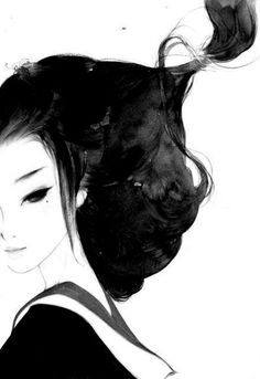 painting: geisha in black and white