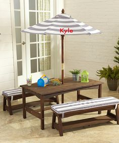 Look at this Three-Piece Gray & White Personalized Patio Set on #zulily today!