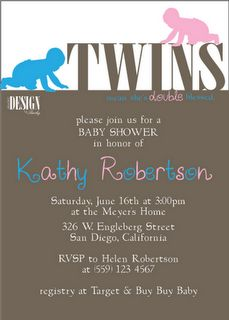 twins baby shower invitations boy and girl