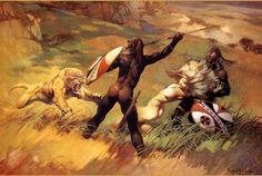 "#FrankFrazetta ""Predators"" •1982• #Frazetta #Warrior #Painting #Illustrator #Oil #Painting #Art #Artist #African #1980s #Lion #Battle #DeathDealer #Conan"