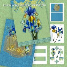 Yellow Lace Hearts & Irises Gate Fold Decoupage Mini Kit - This blue & green 5x7 card features bright yellow intricate lace with hearts and a bouquet of irises with their butterfly attendees.  A cheerful, romantic and elegant card perfect for celebrating love and any romantic occasion.    Art by Hafapea, Jaguarwoman & Moonbeam1212. #CardMakingKits #CraftsUPrint #LisaMayette #Hafapea