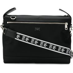 Dolce & Gabbana branded strap messenger bag (46,140 THB) ❤ liked on Polyvore featuring men's fashion, men's bags, men's messenger bags and black