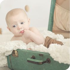 6 month old baby boy photo shoot. #suitcase #vintage #studio ©fresh snapped photos | www.freshsnappedphotos.com