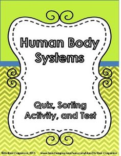 Human Body Systems quiz, sorting activity, and test designed for NC Essential Standard 5.L.1.2