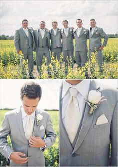 wedding inspiration | groom outfit | attire for the groom and groomsmen | grey and cream | v/ wedding chicks |