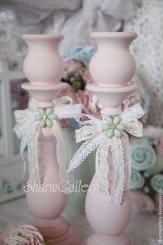 Подсвечники деревянные \'Love Pink\' + свечи в подарок!