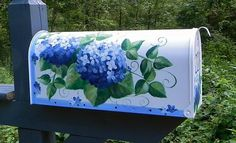 Blue Hydrangeas on a Hand Painted Mailbox  by DancingBrushes, $89.00