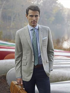 Ike Behar | Light Blue Herringbone Two Button Notch Lapel Wool ...