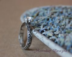 Tendril and Vine Engagement Ring, Commitment Ring, or Promise Ring with White Sapphire in Sterling Silver