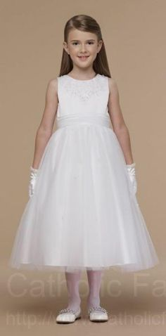 First Communion Dress with All Over Pearls : ACD205 #catholicfaithstore