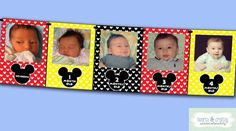 Mickey Mouse First Year Photo Banner / 12 Month Picture Banner / Mickey Mouse First Birthday Party F Mickey Mouse First Birthday, Baby Mickey, Mickey Mouse Clubhouse, Mickey Ears, First Birthday Parties, First Birthdays, Birthday Ideas, Happy Birthday, Minnie Mouse