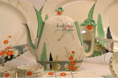 A small collection of Art Deco Burleigh Ware 'Riviera' pattern ceramics including a teapot and ch Vintage Dishes, Vintage China, Vintage Kitchen, Art Deco, Art Nouveau, Welsh Dresser, Vintage Dinnerware, Granny Chic, Floral Theme