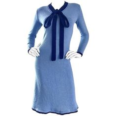 Preowned 1970s Adolfo For Saks 5th Ave. Blue Knit Nautical Vintage 70s... ($795) ❤ liked on Polyvore featuring dresses, blue, cocktail dresses, stretch knit dress, vintage dresses, tie dress, blue day dress and bow tie dress