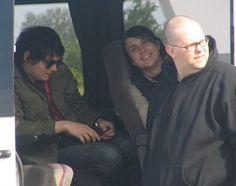 Gerard, Frank, and Worm.love how Frank sees the camera and has to smile<3 <3 <3