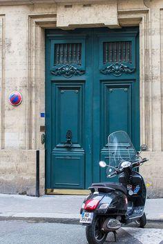 Paris Door Photography Blue Door with Scooter