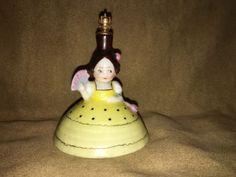 """Antique GOEBEL GERMANY CROWN TOP PERFUME Bottle Googly Eyes GIRL w/ FAN 3.5"""""""
