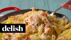 Garlicky Shrimp Alfredo Bake | Delish