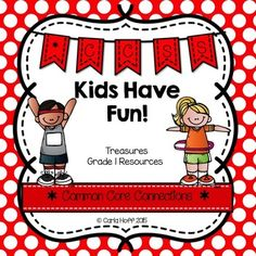 Kids Have Fun! - First Grade Treasures - Common Core Connections for comprehension, phonics, high frequency words, grammar, and fluency.  Games, centers, printables!  Easy prep!
