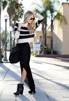 Oversized Sweater...Skirt and amazing shoes/bag.