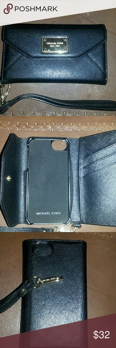 FREE Michael kors Iphone 5 caseW/purchase Michael kors black and gold IPhone 5 case in perfect condition free with purchse of Michael Kor wedge heels great deal Michael Kors Bags