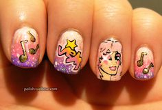 Polish Rainbow nail art: Jem and the Holograms nails......OMG.......JEM WAS MY FAVORITE CARTOON EVER!!!!...JEM IS OUTRAGEOUS!!!!
