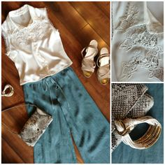 Feeling easy, breezy today with our flowy linen pants in a pretty shade of blue!  We paired them with our crisp white eyelet embroidered top and added taupe platform wedges, a Lodis snakeskin crossbody and white & gold Gillian Julius bracelet!
