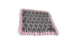BESSIE AND BARNIE Pet Blanket, Large, Versailles Pink/Cotton Candy with Ruffle   : Cats items