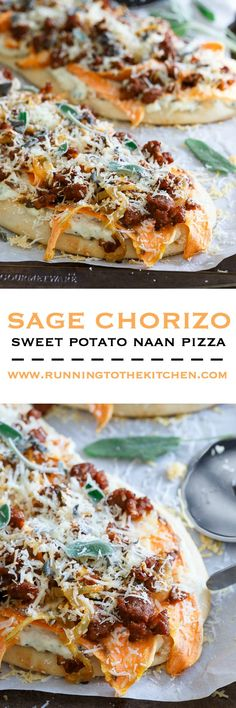 Sage chorizo and sweet potato naan pizza
