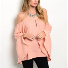 COMING SOON! Romantic off shoulder rose top! Super romantic cold shoulder top in a gorgeous peachy rose tone! Very flattering! Comes in SML Boutique Tops Blouses