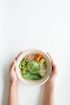 Hummus Breakfast Bowl w/ Avocado + Shaved Carrots
