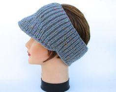 Knit Sun Visor - Pewter Headband With Brim - Wool Blend Headwear - Brimmed Headband - Visor Ear Warmer - Knit Accessories - Tweed Hairband by BettyMarieJones on Etsy