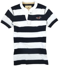 Hollister Mens Preppy Stripe S/S Henley Shirt, Navy/white