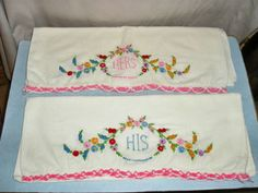 his and hers embroidered pillowcases.