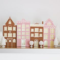 Make your own winter village decor for less than $10! --omg if i had the patience i'd make the grand budapest hotel