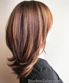 Deep brown base with caramel highlights around face and cinnamon highlights throughout
