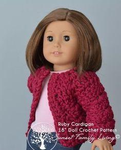 18 inch Doll Ruby Cardigan.  Sweater crochet pattern.  Free pattern.