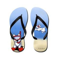 KiniArt Flip Flops featuring the pawpular SNORKEL WESTIES by Kim Niles.