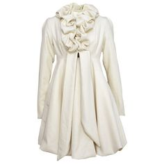 Ruffle cream coat by Kelly Ewing is a feminine way to stay warm this... ❤ liked on Polyvore featuring outerwear, coats, jackets, dresses, tops, empire waist wool coat, white coat, empire waist coat, wool coat and white wool coat