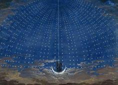 "Decoration for Mozart's ""Magic Flute"" by Karl Friedrich Schinkel The Magic Flute, Recorder Music, Stage Set, Budapest, Good Music, Planer, Big Ben, Opera, Clouds"