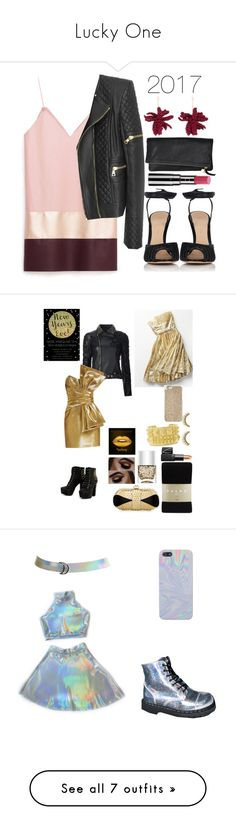"""Lucky One"" by eclectic-sista ❤ liked on Polyvore featuring Balmain, Gianvito Rossi, Lucy Folk, Chantecaille, Philipp Plein, Free People, Yves Saint Laurent, Falke, Christian Louboutin and Nails Inc."