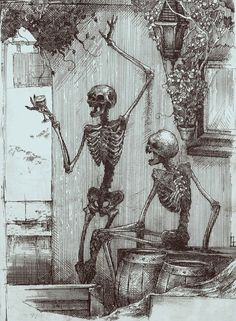 red-lipstick:  AC44 (Ukraine) - Drunk Skeletons, 2012               Drawings: Pen + Ink http://niesmacznaa.deviantart.com/#/art/drunk-skeletons-360528828?_sid=517fcc7b