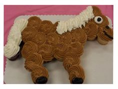 Horse cupcake cake/ but colorful like the party favor!
