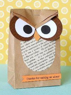 saco de papel de coruja - lembrancinha