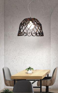 Κλασικό μονόφωτο σε μέταλλο, με όμορφες λεπτομέρειες. Ceiling Lights, Led, Lighting, Pendant, Metal, Classic, Home Decor, Derby, Decoration Home
