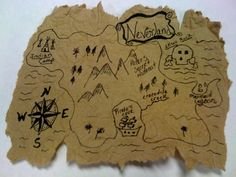 Neverland Treasure map... hmmm.... Oh! I know... We'll chalk that on the ground in front of the booth!