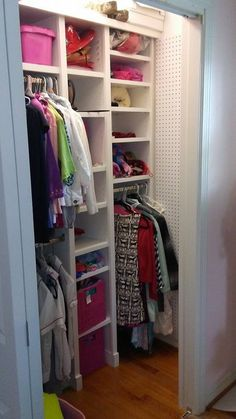 In this child's closet the peg board was added to the side to store everything from belts and scarves to headbands. Keeping as much as possible in the closet behind doors helps the room stay tidy. Supply Room, Organizing, Organization, Kid Closet, Mudroom, Declutter, Storage Spaces, Design Projects, Headbands