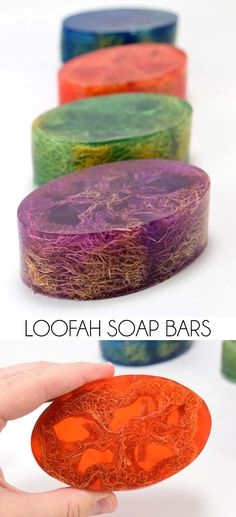 These Loofah Soap Bars make perfect homemade gifts! (Unless you keep them for yo… These Loofah Soap Bars make perfect homemade gifts! (Unless you keep them for yourself! Diy Beauté, Fun Diy, Homemade Soap Recipes, Homemade Soap For Sale, Diy Soap Easy, Homemade Soap Bars, Homemade Paint, Soap Making Recipes, Homemade Facials