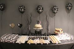 fun black & white party theme...this site is full of fun dessert tables