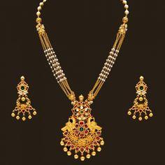 Gold Antique Pearl Necklace set (110A16133-108A43378) | Vummidi Bangaru Jewellers