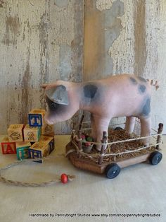 Pig pull toy: handmade vintage style, soft sculpture pull toy pig. Perfect for nursery or home decor.